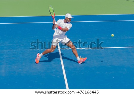 WINSTON-SALEM, NC, USA - AUGUST 22: Donald Young plays center court at the Winston-Salem Open on August 22, 2016 in Winston-Salem, North Carolina.