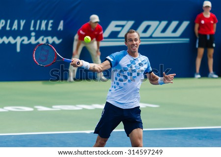 WINSTON-SALEM, NC, USA - AUGUST 24: Lukas Rosol plays center court at the Winston-Salem Open on August 24, 2015 in Winston-Salem, NC, USA
