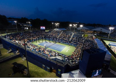WINSTON-SALEM, NC, USA - AUGUST 20: The Winston-Salem Open during a night match at Wake Forest University on August 20, 2014 in Winston-Salem, NC, USA - stock photo