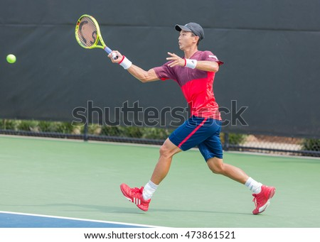 WINSTON-SALEM, NC, USA - AUGUST 23: Yen-hsun Lu plays in the 3rd Round at the Winston-Salem Open on August 23, 2016 in Winston-Salem, North Carolina.