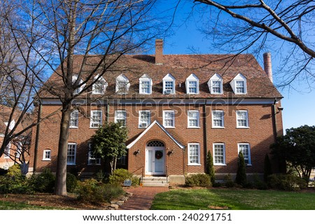 WINSTON-SALEM, NC, USA - DECEMBER 27:Strong Residence Hall, built in 1942, at Salem College on December 17, 2014 in Winston-Salem, NC, USA - stock photo