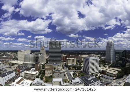 WINSTON-SALEM, NC, USA - JULY 28: Downtown Winston-Salem from above on July 28, 2014 in Winston-Salem, NC, USA - stock photo