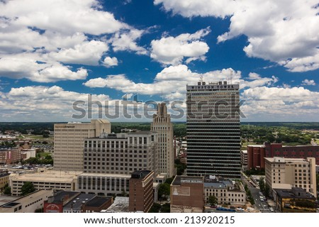WINSTON-SALEM, NC, USA - JULY 28: Summer in Downtown Winston-Salem, North Carolina on July 28, 2014 in Winston-Salem, NC, USA - stock photo