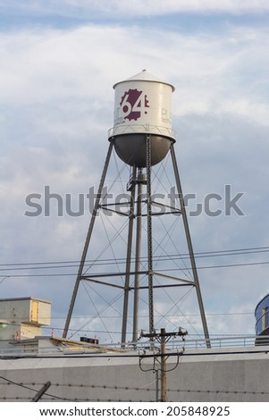 WINSTON-SALEM, NC, USA - JULY 16: Water tower at Plant 64 on July 16, 2014 in Winston-Salem, NC, USA