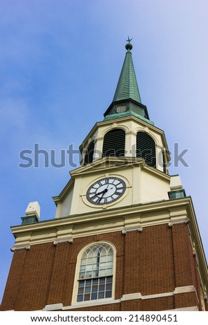 WINSTON-SALEM, NC, USA - MAY 5: Wait Chapel at Wake Forest University on May 5, 2013 in Winston-Salem, NC, USA - stock photo