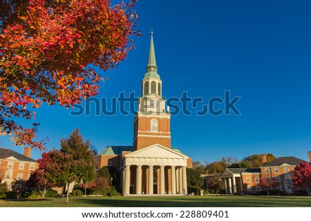 WINSTON-SALEM, NC, USA - NOVEMBER 7: Wait Chapel, built in 1956, and Hearn Plaza at Wake Forest University on November 7, 2014 in Winston-Salem, NC, USA - stock photo