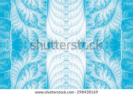 Winter abstract background in blue tones with a gentle delicate ornament. - stock photo
