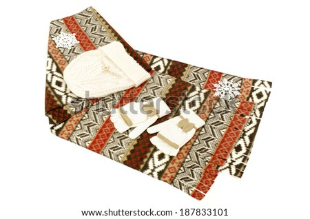 Winter accessories isolated on white background. Pattern wool scarf with matching white gloves and hat. - stock photo