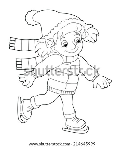 Winter activity - coloring page - illustration for the children - stock photo