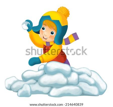 Winter activity - illustration for the children - stock photo