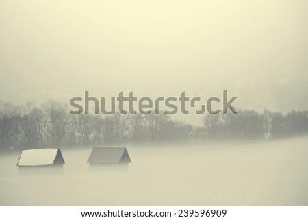 Winter Alp  mountains in Austria - stock photo