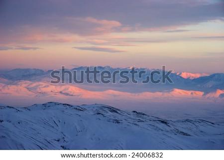 Winter alpenglow - stock photo