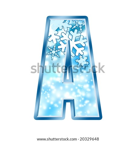 Winter Alphabet Letter A - stock photo