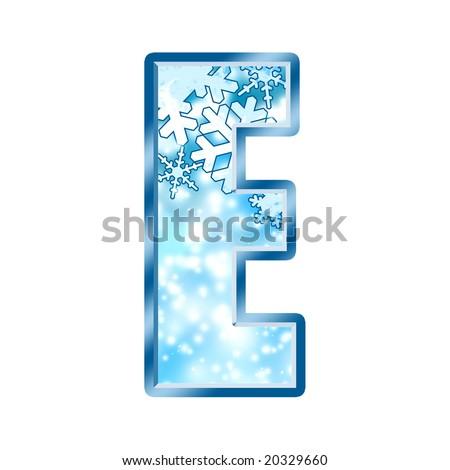 Winter Alphabet Letter E - stock photo