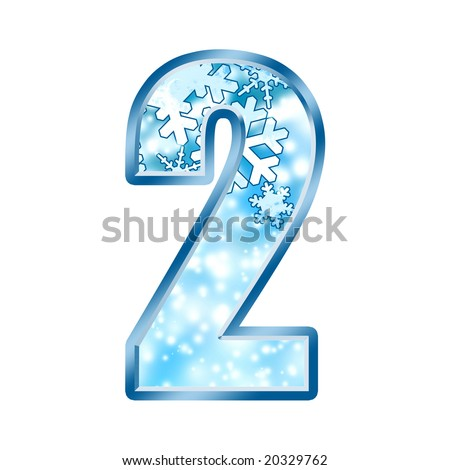Winter Alphabet Number 2 two - stock photo