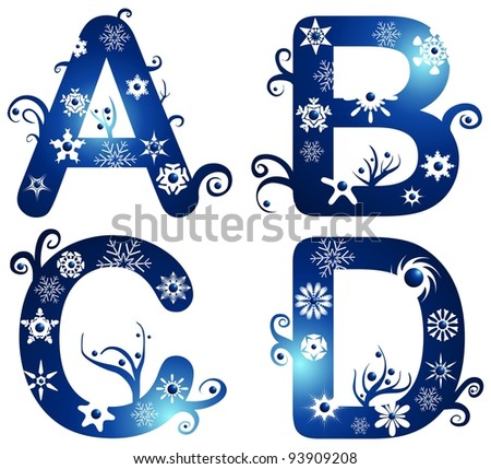 winter alphabet set letters A - D - stock photo