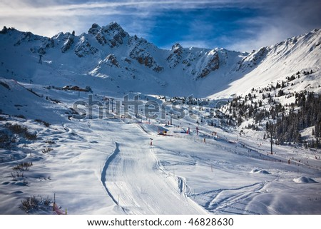 Winter Alps landscape from ski resort. France - stock photo