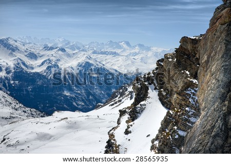 Winter Alps landscape from ski resort Val Thorens. 3 valleys