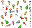 Winter and Christmas background with happy kids - stock photo