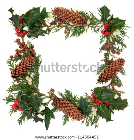 Winter and christmas decorative border of holly, ivy, mistletoe, cedar leaf sprigs and pine cones over white background. - stock photo