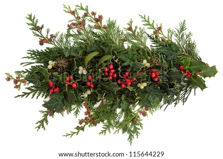 Winter and christmas flora and fauna of holly, ivy, mistletoe and cedar leaf sprigs with pine cones over white background. - stock photo