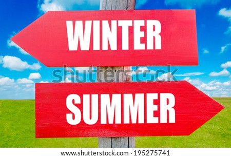 Winter and summer choice showing strategy change or dilemmas - stock photo