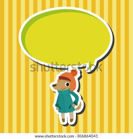 winter animal dog icon cartoon speech icon - stock photo