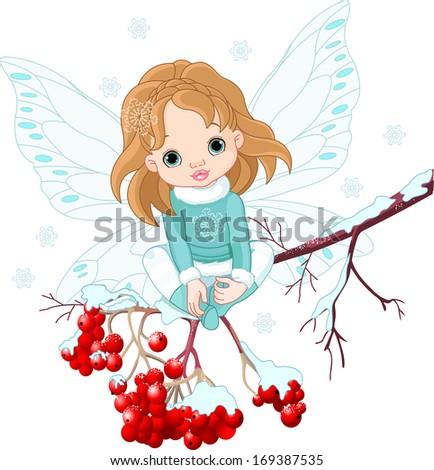 Winter Baby Fairy sitting on Ash Tree Branch. Raster version.   - stock photo