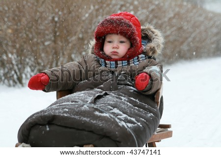 Winter baby on sled - stock photo