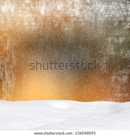 Winter background-Abstract bokeh lights and snowdrift - stock photo