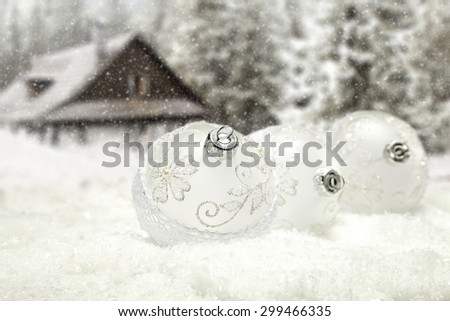 winter background and three balls  - stock photo