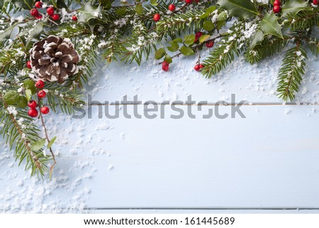 winter background - blue woodboard  - stock photo