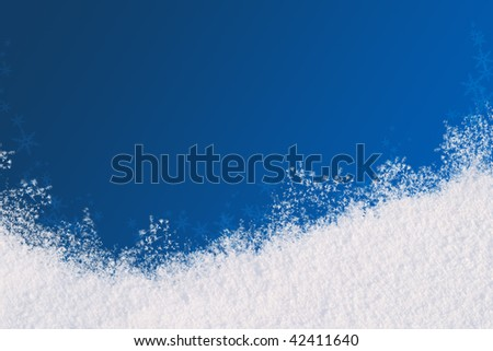 Winter background for the congratulations. The blue background and natural snow. Place for text - stock photo