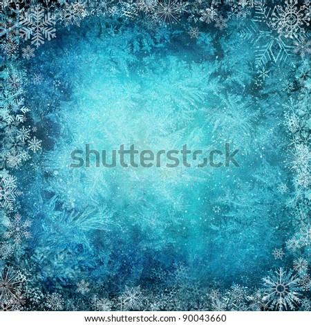 Winter background from snowflakes - stock photo