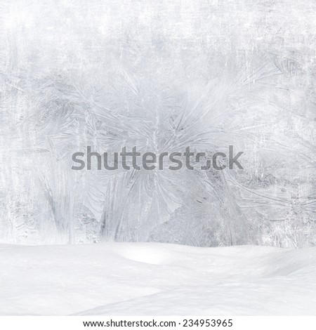 Winter background - Frost patterns on window, snowdrift and bokeh lights - stock photo