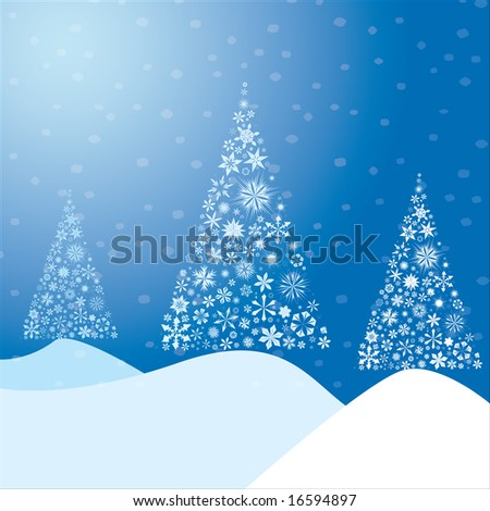 Winter background made from snow flakes arranged in the shape of a Christmas tree. Also available as vector.