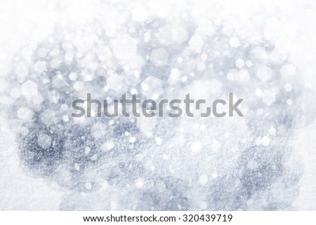 Winter background, snow, lights and stars. - stock photo