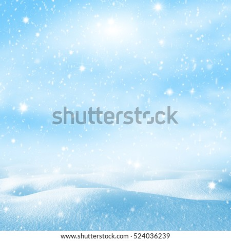 Winter background. Winter christmas bright landscape with snowdrifts and falling snow.