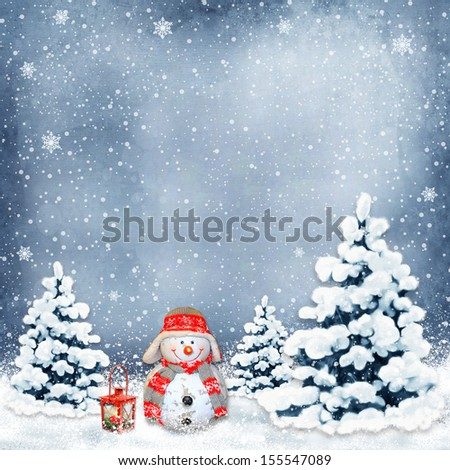 Winter background with a snowman and Christmas trees - stock photo