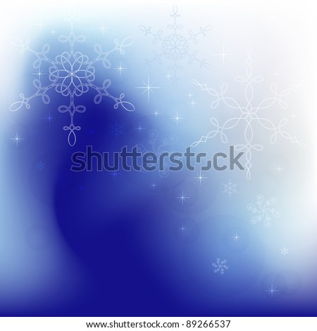 Winter background with calligraphic snowflakes - stock photo