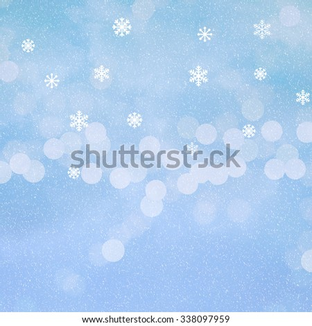 Winter background with clouds , bokeh of little lights and  snowflakes  and a soft snow texture - stock photo