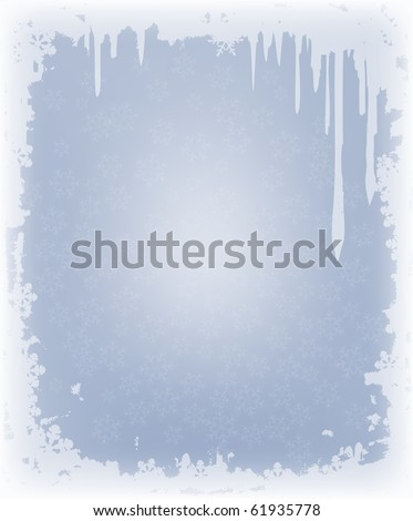 winter background with frame of snowflakes - stock photo