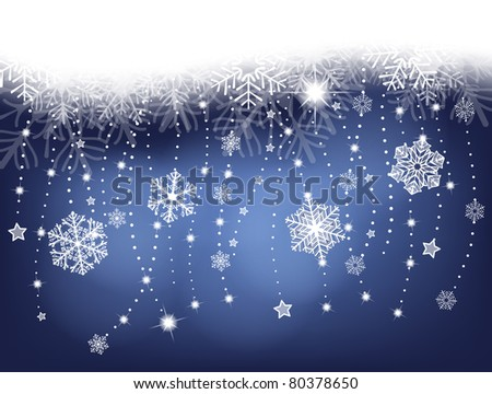 winter background with garlands, snowflakes, stars and lights - stock photo