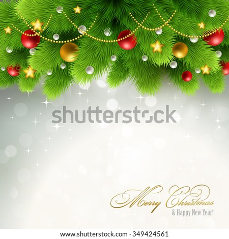 Winter background with green pine branch and baubles. Christmas  tree decoration.  - stock photo
