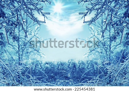 Winter background with icy branches in the foreground - stock photo