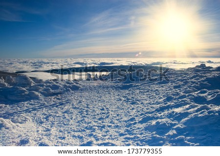 winter background with snow and nice view - stock photo