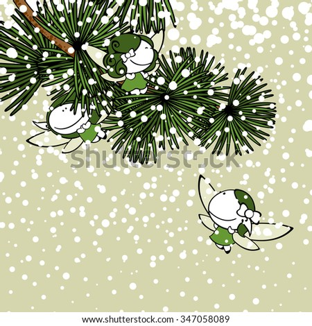 Winter background with snow fairies (raster version) - stock photo