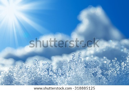 Winter background with transparent ice crystals. - stock photo