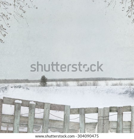 Winter background with wooden fence