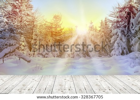 winter background with wooden planks - stock photo